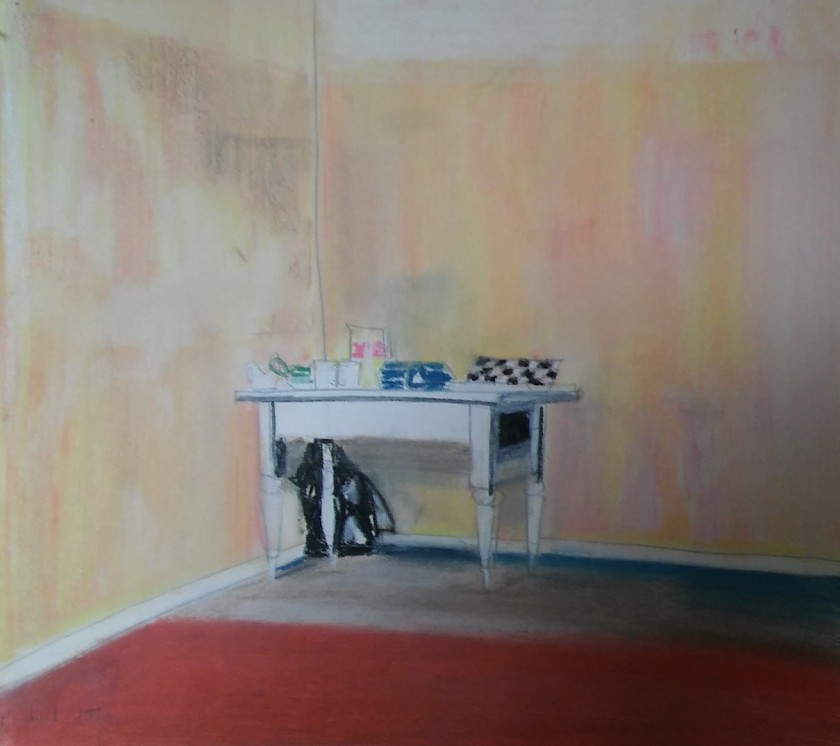 pastel sketch of table